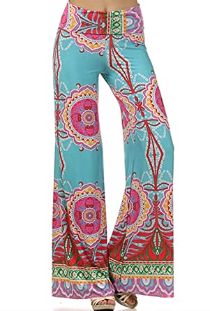 Womens Fold Over Waist Wide Leg Palazzo Pants (Teal Tropical) at ... 214709488f05