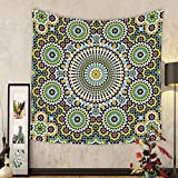 Gzhihine Custom tapestry Arabesque Tapestry Ethnic Moroccan Middle Eastern Oriental Traditional Vintage Islamic Mosaic Motif for Bedroom Living Room Dorm 60 W X 40 L Multicolor