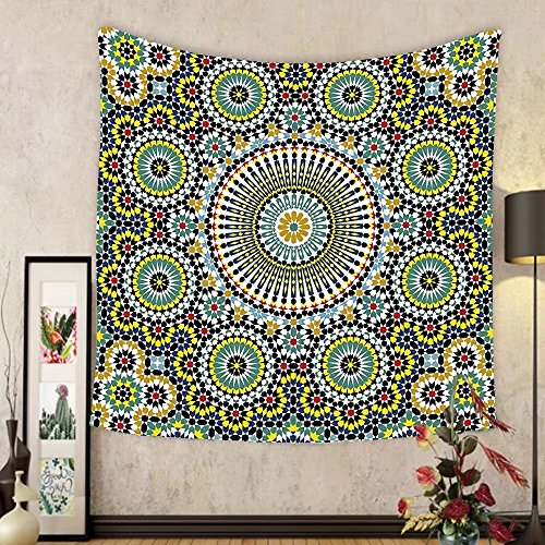 Gzhihine Custom tapestry Arabesque Tapestry Ethnic Moroccan Middle Eastern Oriental Traditional Vintage Islamic Mosaic Motif for Bedroom Living Room Dorm 60 W X 40 L Multicolor by Gzhihine