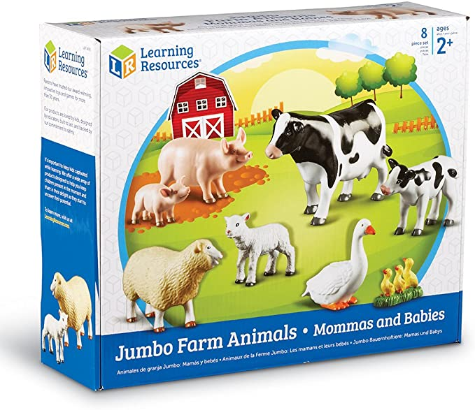 Amazon Com Learning Resources Jumbo Farm Animals Mommas And Babies Toy Set 8 Pieces Ages 2 Multi Color Toys Games