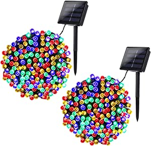 Joomer 2 Pack Solar String Lights 72ft 200 LED 8 Modes Solar Powered Christmas Lights Waterproof Decorative Fairy String Lights for Garden, Patio, Home, Wedding, Party, Christmas(Multi-Color)