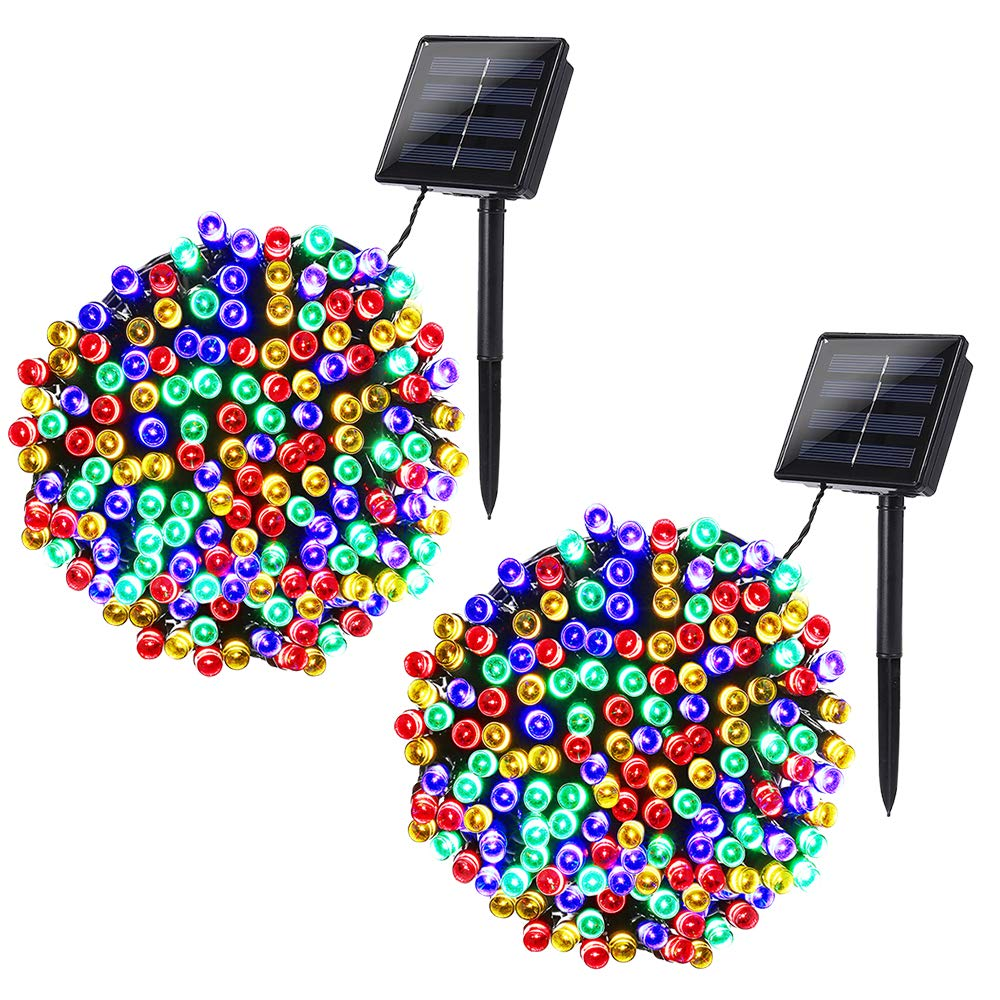 Joomer 2 Pack Solar String Lights 72ft 200 LED 8 Modes Solar Powered Christmas Lights Waterproof Decorative Fairy String Lights for Garden, Patio, Home, Wedding, Party, Christmas(Multi-Color) by Joomer