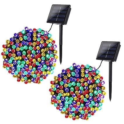 Solar Powered Christmas Lights.Joomer 2 Pack Solar String Lights 72ft 200 Led 8 Modes Solar Powered Christmas Lights Waterproof Decorative Fairy String Lights For Garden Patio