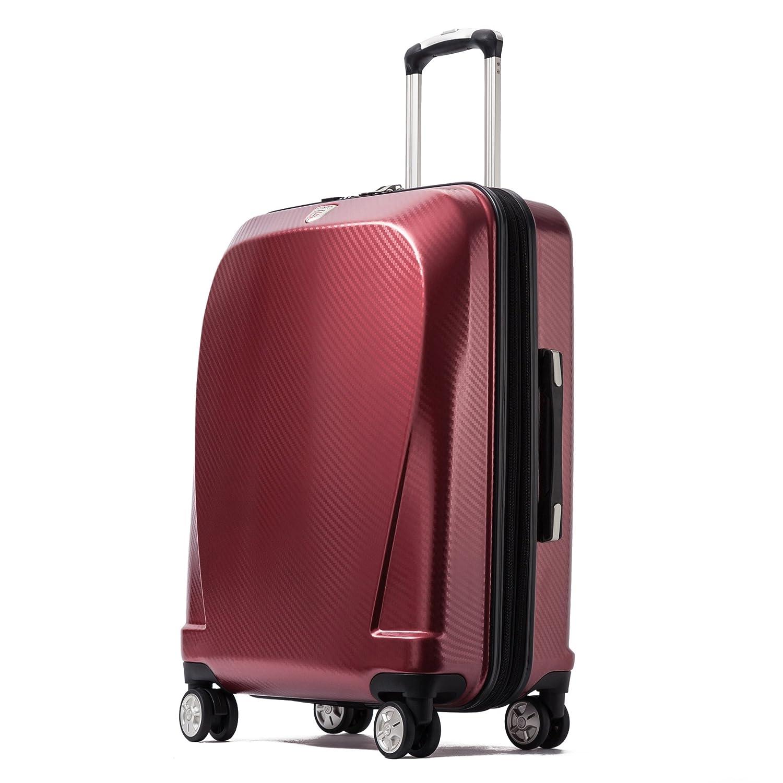 クロース(Kroeus)スーツケース キャリーケース 容量拡張機能 TSAロック搭載 ファスナータイプ エンボス加工 軽量 ダブルキャスター S型機内持ち込み可 トランクケース 出張 日本語取扱説明書 1年間保証 B07C3J9QJP S(1~3泊/40L)|ワインレッド ワインレッド S(1~3泊/40L)