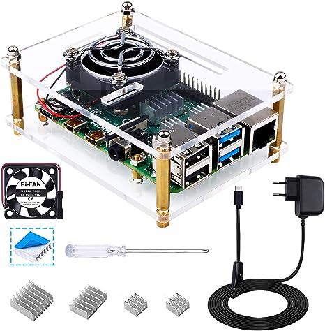 Bruphny Caja para Raspberry Pi 4, Caja con Cargador de 5V 3A USB-C ...