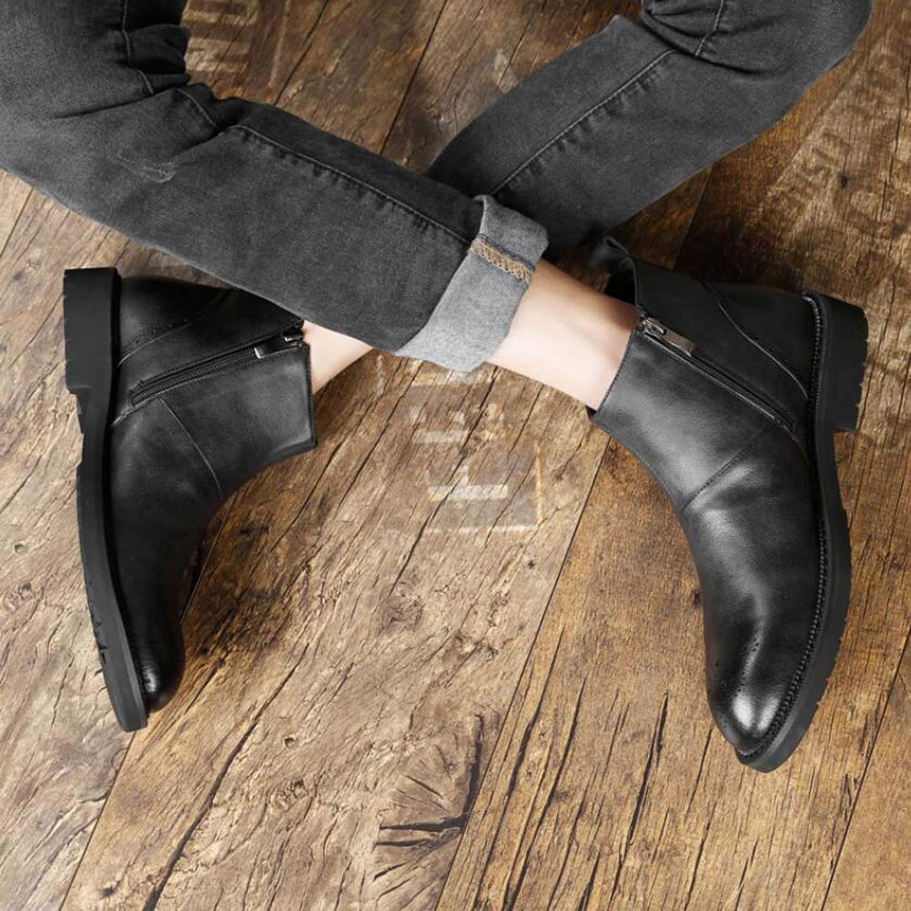 Männer Martin Martin Martin Stiefel Chelsea Stiefel Runde Zehe Reine Farbe Britischen Stil Geschnitzt Tall Stiefelie Business Casual Lederstiefel EU-Größe 38-44 83bbf3