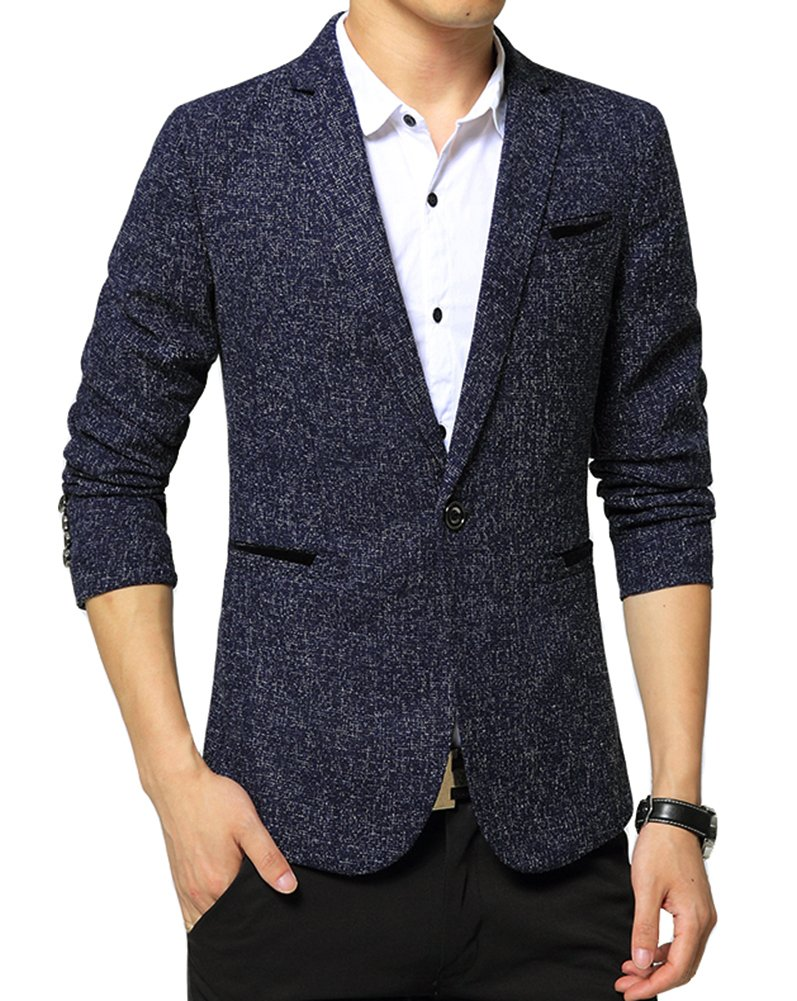 Benibos Mens Premium Casual One Button Blazer Slim Fit Coat Jacket