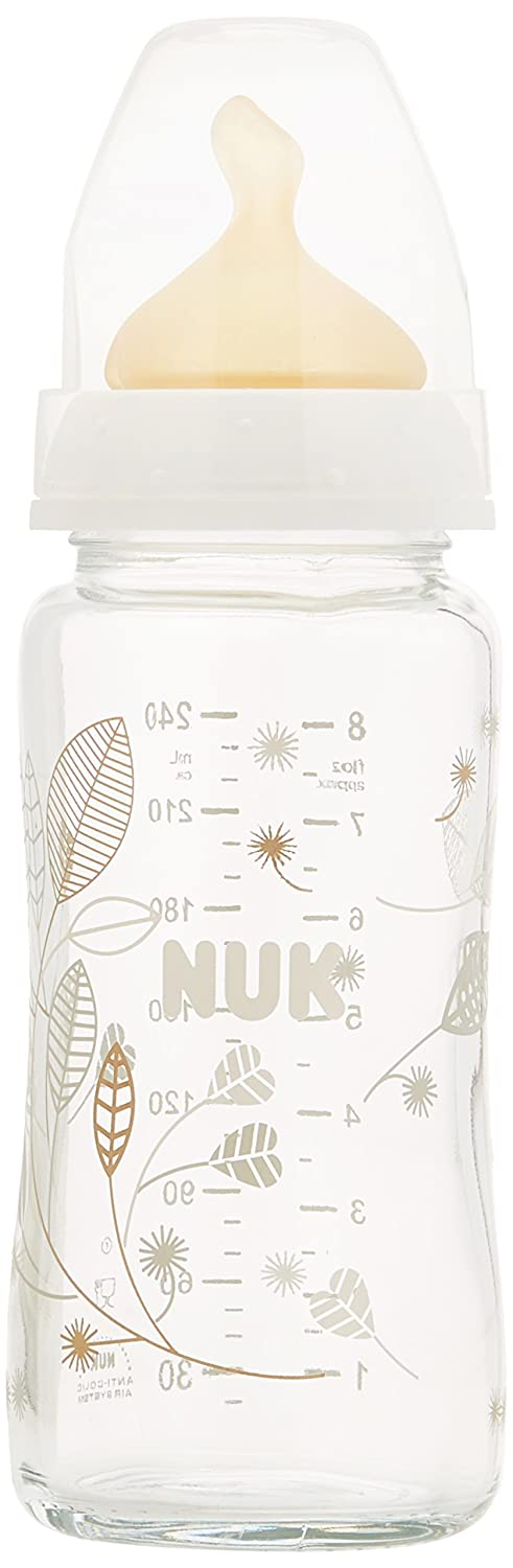 NUK First Choice 120ml Glass Bottle with 0-6mths Latex Teat (1 pack) 10747051