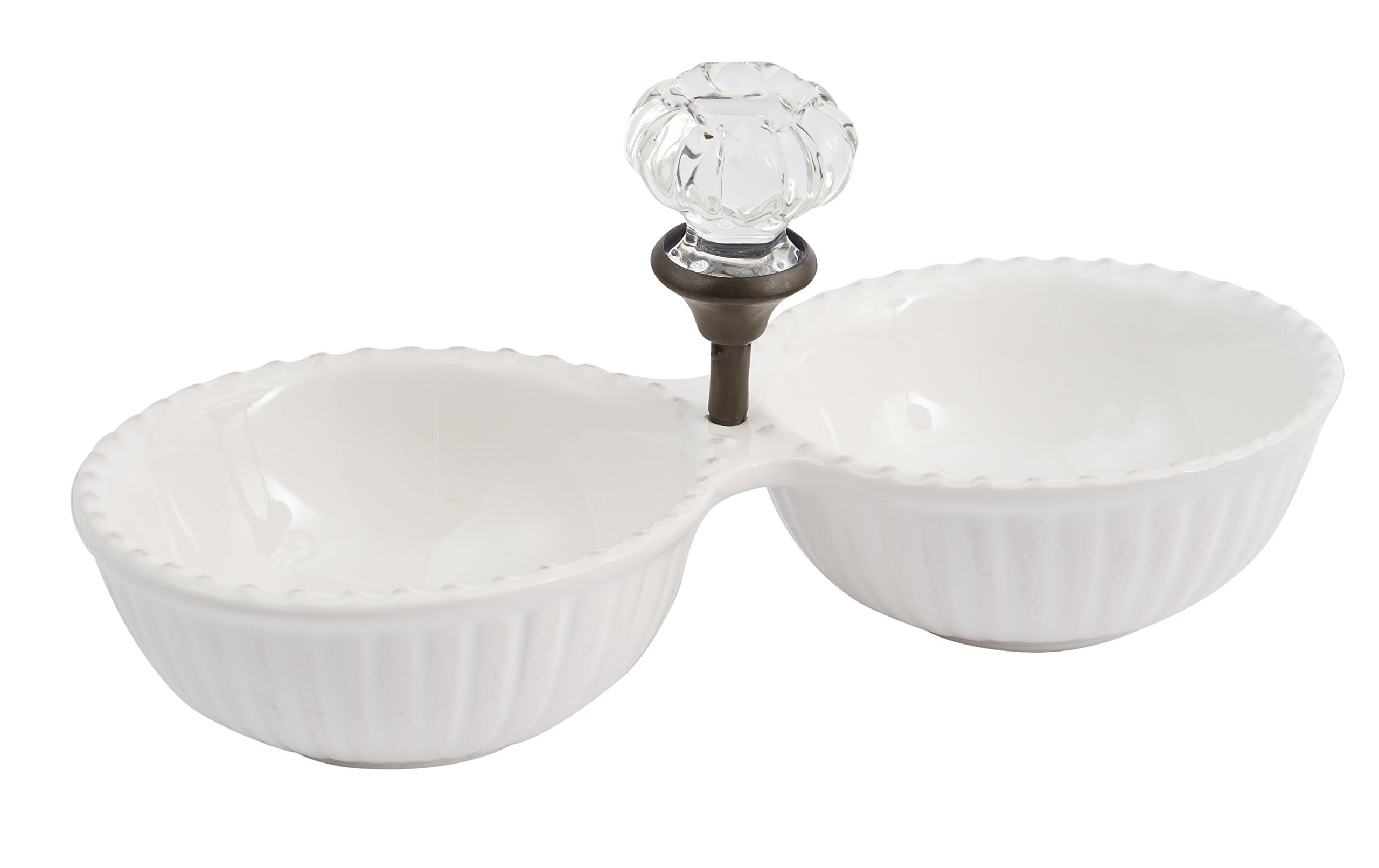 Mud Pie Door Knob Double Dip Dish, White by Mud Pie