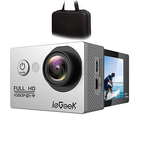 ieGeek Wi-fi Cámara Deportiva Acción 1080P Full HD 2.0 LCD Videocámara Sumergible hasta 30m, 170 ° de ángulo ancho, batería de 1050mAh, 20 accesorios ...