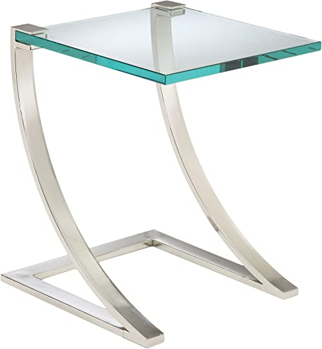 Sterling Uptown Traditional Metal Frame End Table with Glass Top, 20-Inch, Nickel