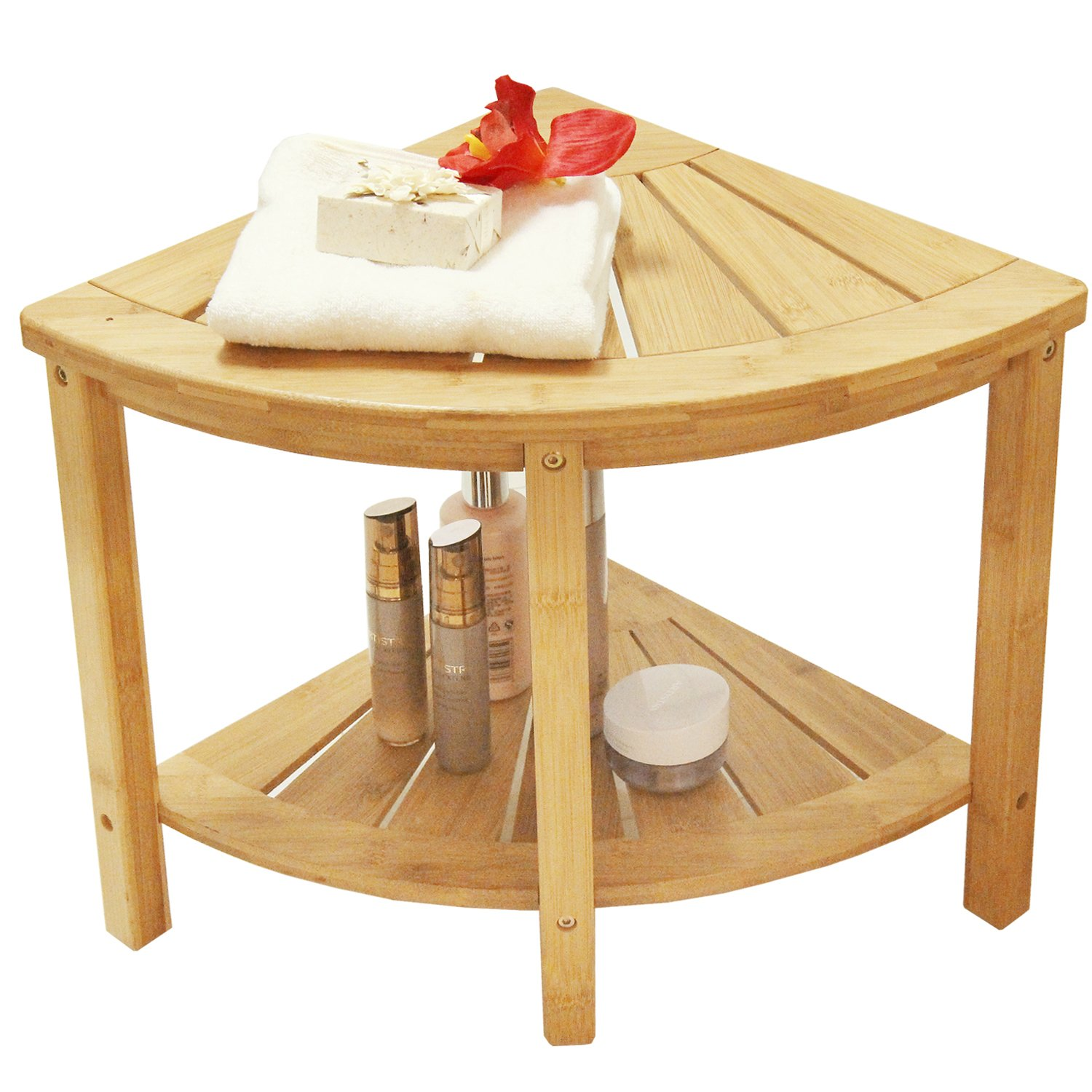 Teak Shower Bench Corner Stool Bath Spa Wood Bathroom Seat Chair ...
