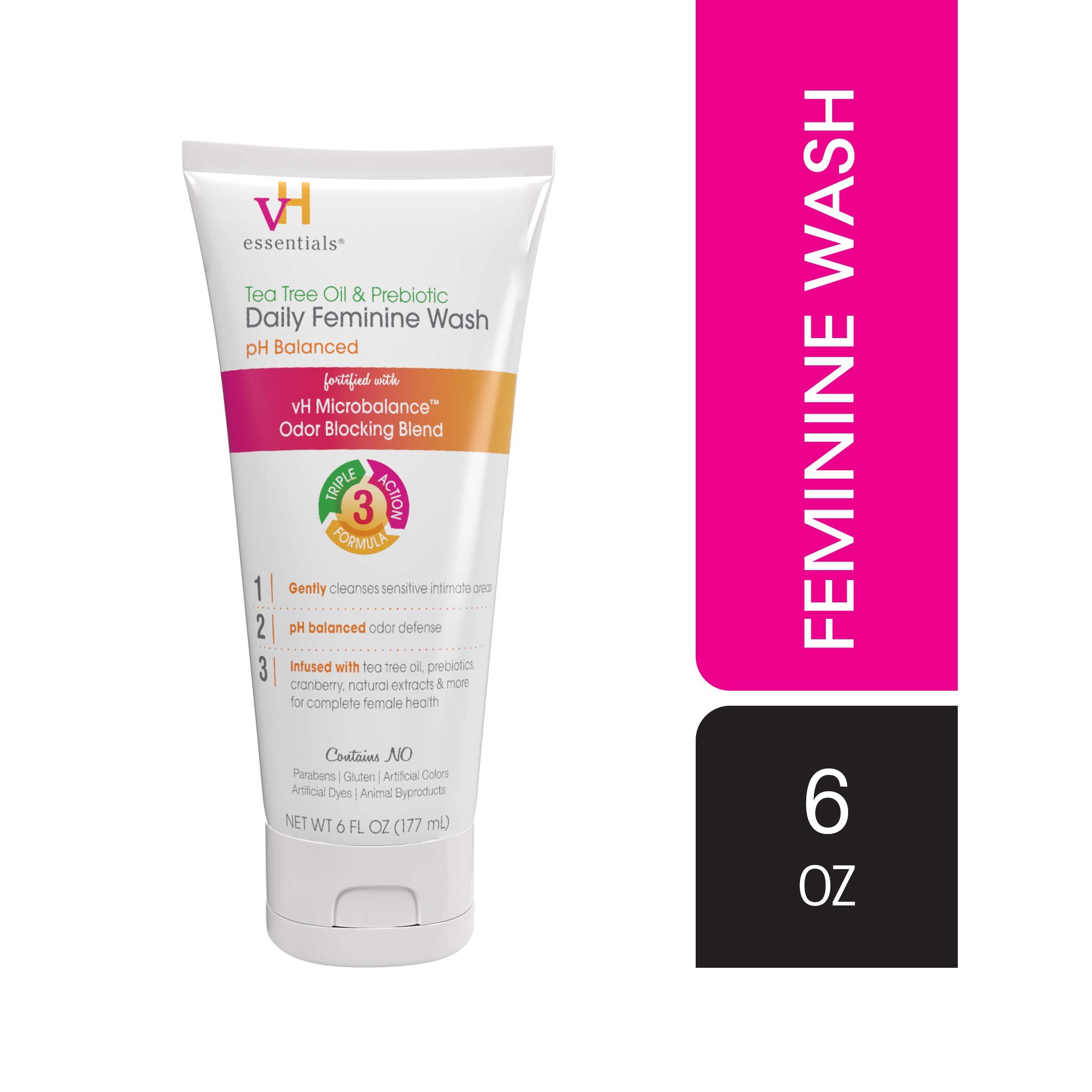 vH essentials, Ph Balanced Daily Feminine Wash, Tea Tree Oil & Prebiotic, 6, Fl Oz, (Pack Of 1)