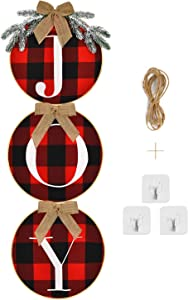 Shiny Flower Joy Sign Front Door Decoration Rustic Burlap Wooden Buffalo Check Plaid Wreath Round Hanging Wreath Sign for Home Window Wall Indoor Outdoor Christmas Holiday Decoration