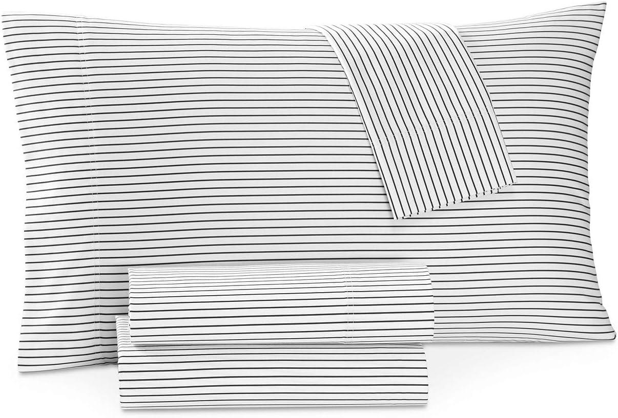 Charter Club Damask Designs Printed Pinstripe 4 Piece California King Sheet Set Pinstripe Black