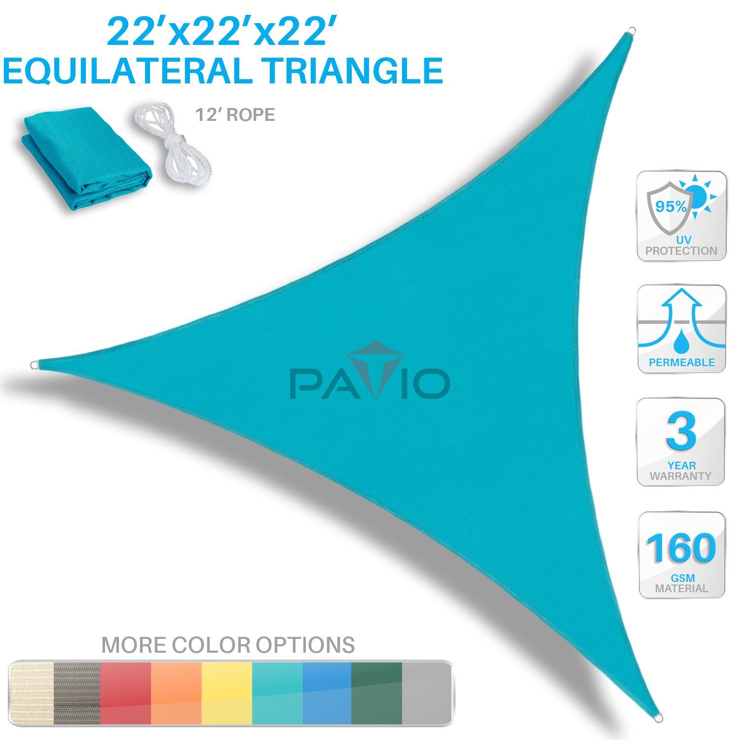 Patio Paradise 22' x 22' x 22' Turquoise Green Sun Shade Sail Equilateral Triangle Canopy - Permeable UV Block Fabric Durable Outdoor - Customized Available