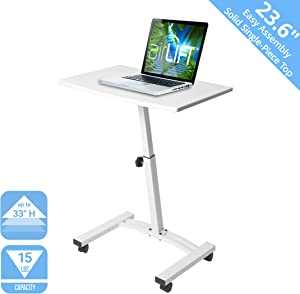 "Seville Classics OFF65855 Mobile Height Adjustable Solid-Top Laptop Desk Cart, 23.6"" W x 16"" D x (20.5"" to 33"" H), White,"