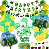 60Pcs Farm Tractor Theme Party Decorations include Tractor Happy Birthday Banner Tractor Garland Cupcake Toppers…