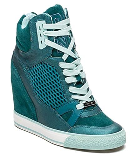 aa7383543e1 DKNY Donna Karan Giada Women s Sport Suede High Top Fashion Platform  Trainers Wedge Sneakers  Amazon.co.uk  Shoes   Bags