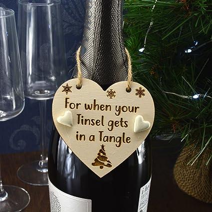 Para Cuando Tu espumillón se en un enredo hecho a mano Navidad botella de
