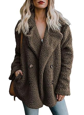 RUNYA Womens Casual Teddy Coats Fluffy Fleece Parka Outerwear Oversized Jacket  Warm Winter Brown 20b303530