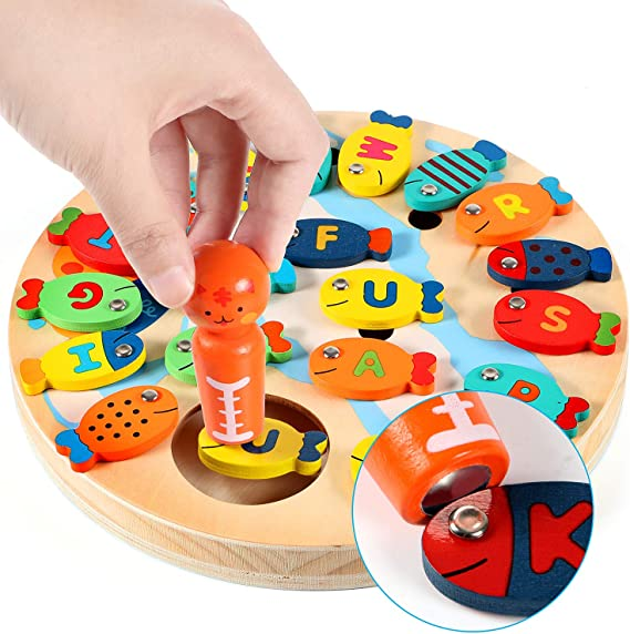 Lewo 30 PCS Magnetic Fishing Game Toddler Wooden Toys Preschool Alphabet Fish Board Games for 2 3 4 Year Old Girls Boys Kids Birthday Learning Education Math Toys with Magnet Poles