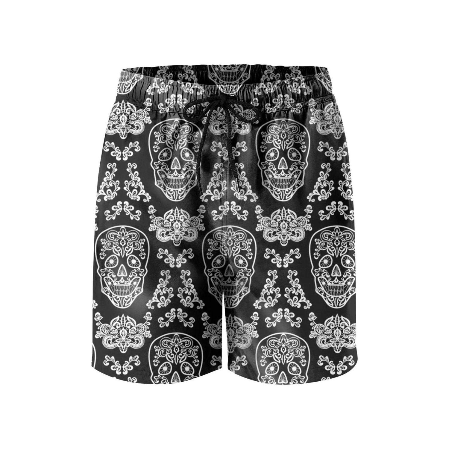 a760783f35c Amazon.com  SNM HILL Mens Quick Dry Beach Shorts Psychedelic Pot Leaf Skull  Floral Boardshorts Swim Surf Trunks  Clothing