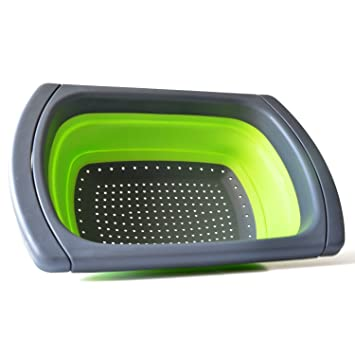 Collapsible Colander, Windspeed Over The Sink Dish Strainer Basket W/  Extendable Handles (Green