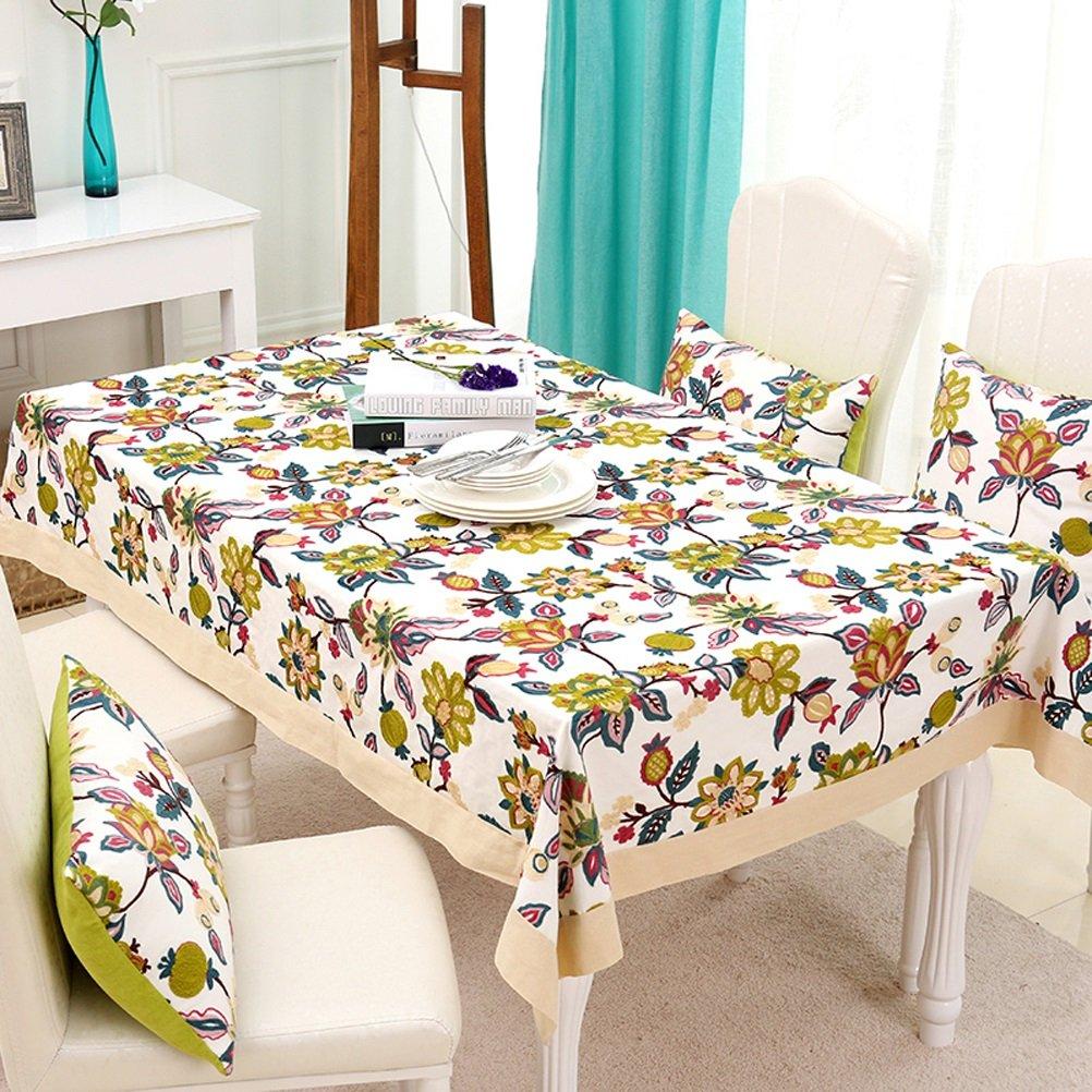 WZS テーブルクロス - テーブルクロス牧歌的な小さな正方形の長方形の綿のテーブルクロス手作りの刺繍テーブルトップの装飾 - tablecloths (色 : C, サイズ さいず : 140x200cm) 140x200cm C B07JLKMBJ1