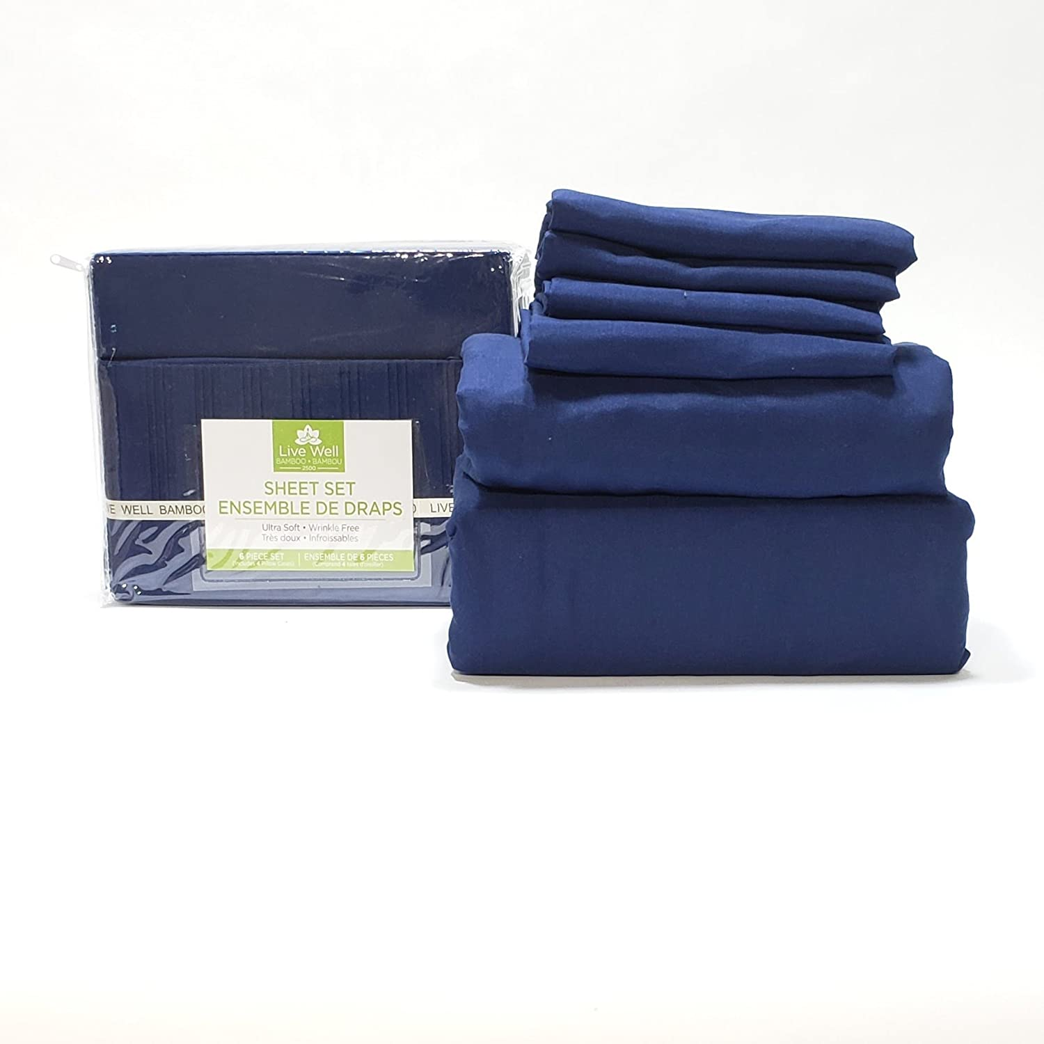 Live Well Bamboo's Ultra Soft, Wrinkle Free, 6 Piece Light Weight Sheet Set (Black, Double/Full)