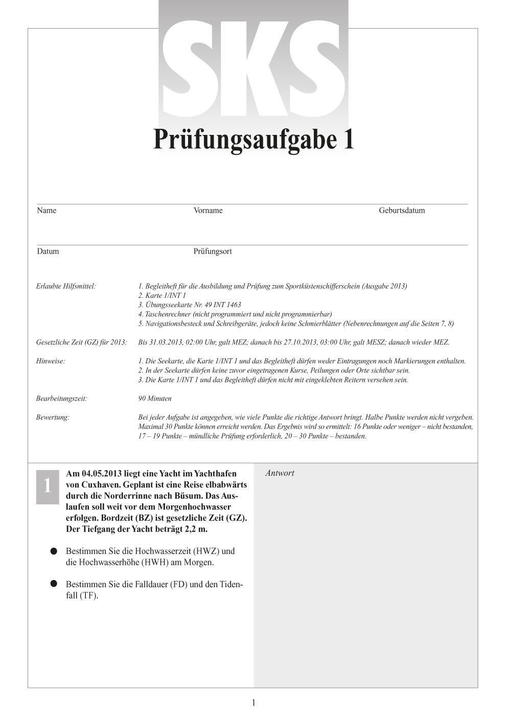 & Gezeitenaufgaben Fragebogen mit Antworten Karten Sportküsten Schifferschein