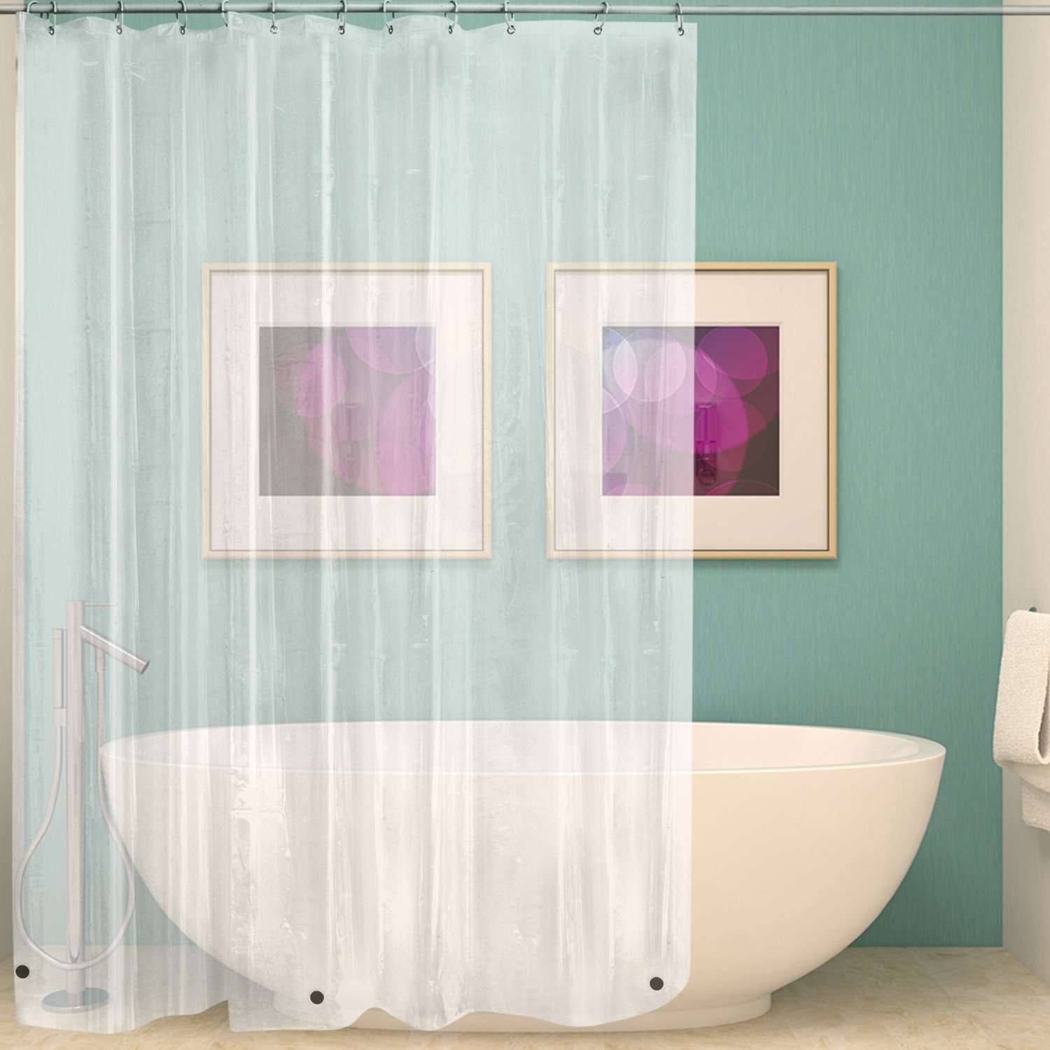 Wimaha Clear Shower Curtain Liner 72x72, Waterproof Shower Liner Mildew  Resistant With Heavy Duty Magnets