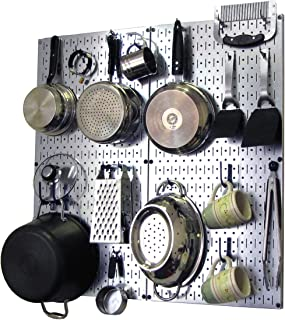 product image for Wall Control 30-KTH-200 GVBU Kitchen Pegboard Organizer Pots and Pans Pegboard Pack Storage and Organization Kit with Metallic Silver Pegboard and Blue Accessories