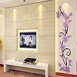 Tongshi DIY 3D acrílico cristal Wall Stickers salón dormitorio TV fondo Inicio (púrpura)