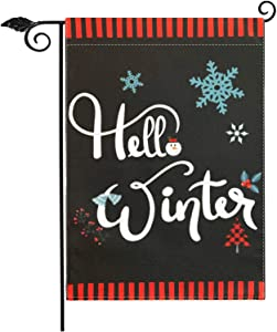 Gz party Hello Winter Garden Flag Vertical Double Sided 12.5 x 18 Inch Farmhouse Winter Holiday Burlap Yard Outdoor Decor,Happy New Year Christmas Welcome Sign