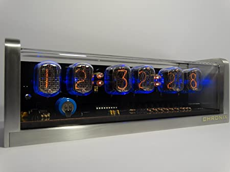 CHRONIX Vintage Nixie Tube Clock With 6xIN 12 Displays Alarm Blue Backlight