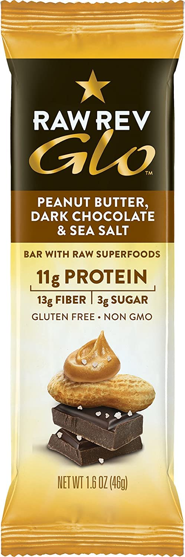 Raw Rev Glo Vegan Protein Bars, Peanut Butter Dark Chocolate & Sea Salt, 1.6 Ounce Bar (Pack of 36)