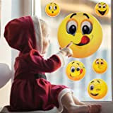 Okloy 10 Large Emoji Faces Wall Graphic Decal Reusable Sticker 3D Cute Skin Multi-size for Notebook / Laotop / Macbook / Windows / Children Room / Unflat Wall Surface