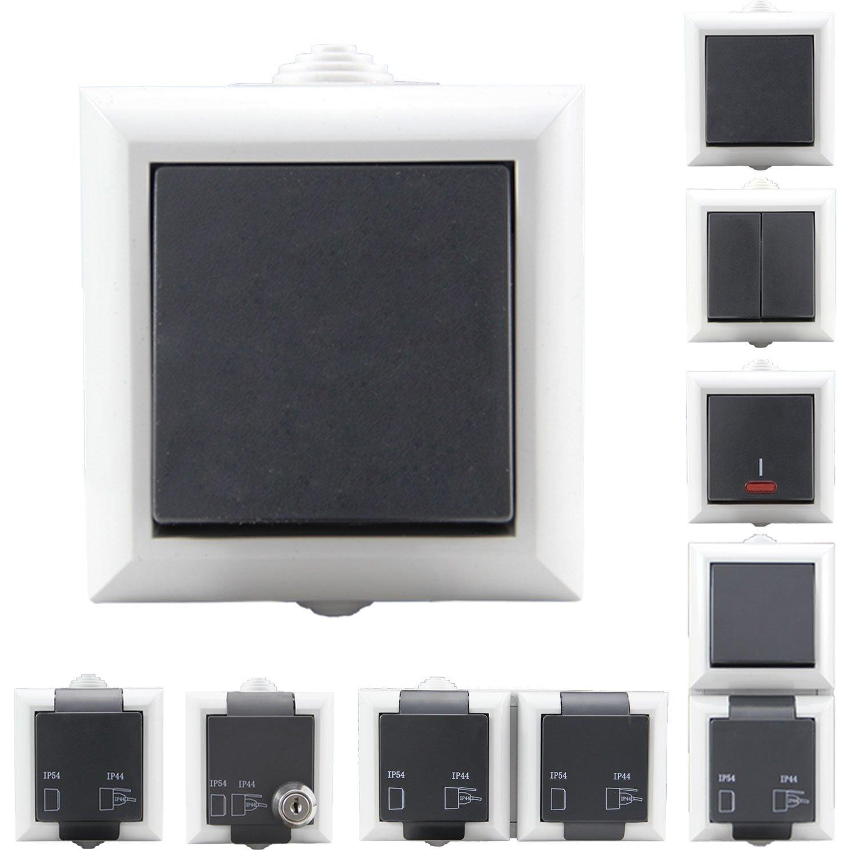 Aufputzsteckdose Schalterserie | Steckdosen & Aufputz Schalter wä hlbar | Doppelt & 1-Fach wä hlbar | IP54 + Schutzkontakt - geeignet fü r den Aussenbereich | Aufputz Schalter, Wechselschalter Semexo