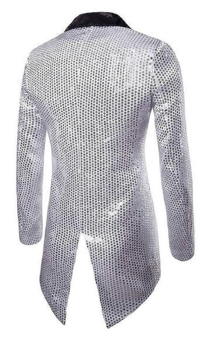 1 Fensajomon Mens Club Dance Prom Prom Prom 1 Button Sequins Tailcoat Tuxedo Dress Blazer Jacket Suit Coat fe775d