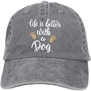 d0ff432ad7dcd FUNINDIY Life is Better with A Dog-1 Vintage Jeans Baseball Cap for Men and