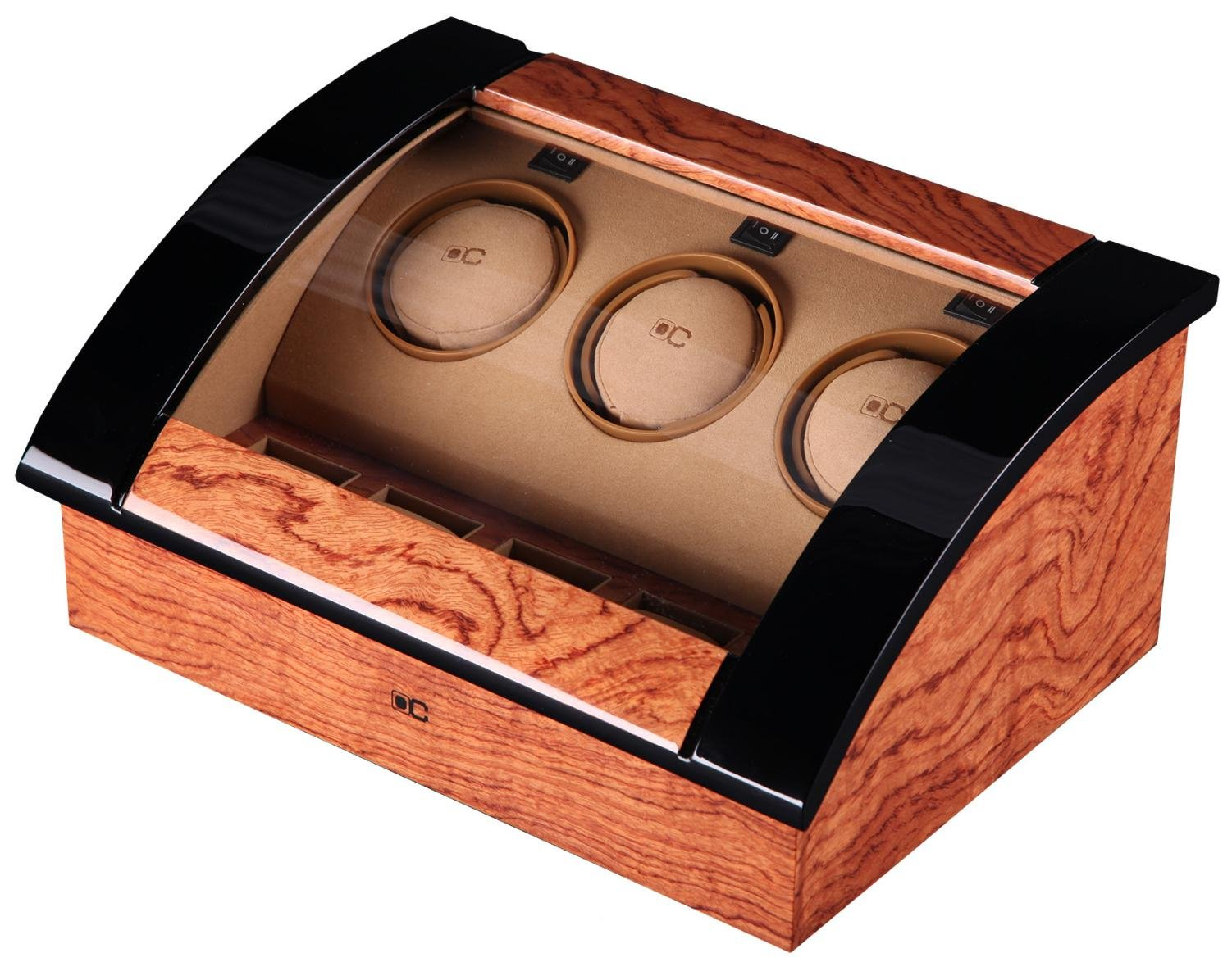 KAIHE-BOX Classic Watch Winders for 3+4 Watches for automatic Watch Winder Rotator Case Cover Storage C , brown