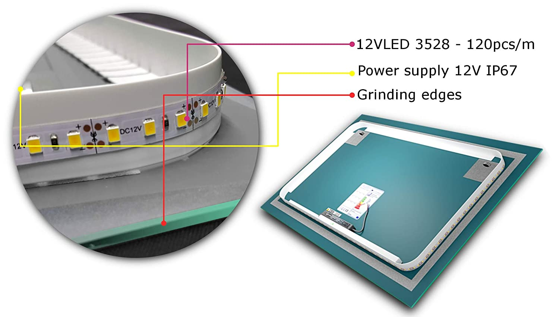 Diferentes tama/ños del Espejo Boston Seleccione Tipo Espejo LED Grandes de Pared Altavoz Bluetooth LED Espejo de Pared Alasta/® Espejo