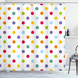 """Ambesonne Geometric Shower Curtain, Vintage Polka Dots Pastel Colors on Blank Background Cheerful Desing Illustration, Cloth Fabric Bathroom Decor Set with Hooks, 70"""" Long, Multicolor"""