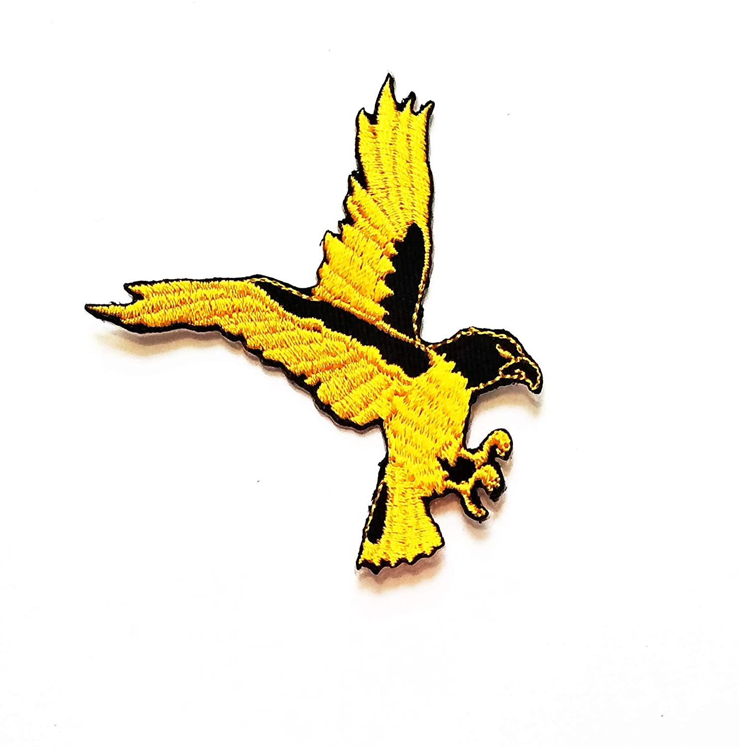 2.5'' X 2.8'' Cartoon gold Eagle Hawk Bird Flying Wild Animal Patch logo jacket t-shirt Jeans Polo Patch Iron on Embroidered Logo Sign Badge Animal Cartoon patch by Tour les jours shop