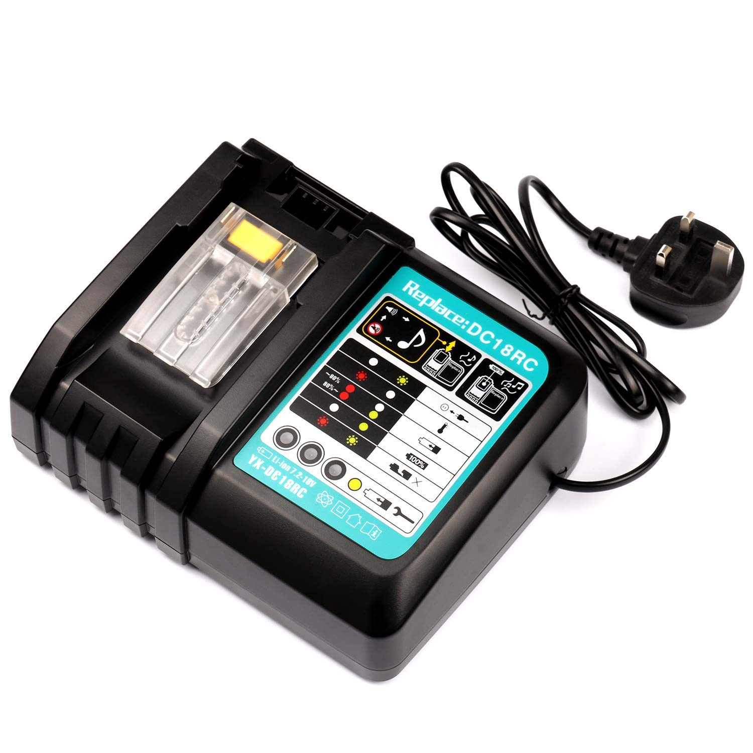 18V Lithium-ion LXT Battery BL1850B BL1860 BL1830 BL1840 BL1815 BL1430 VANTTECH 3A 18V Battery Replacement Charger DC18RC for Makita with LED Indicator Fit for Makita 14.4V