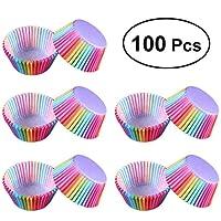 VEVICE Arco Iris de la Torta Soporte de Copa, Pastel Papel Forro de Copa de la cáscara del Mollete de Cocina Postre Fabricante de Zapatos, 100 Paquete