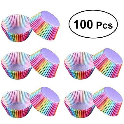 Taza para cupcakes con arcoíris de arcoíris, 100 unidades de fundas de papel para tartas