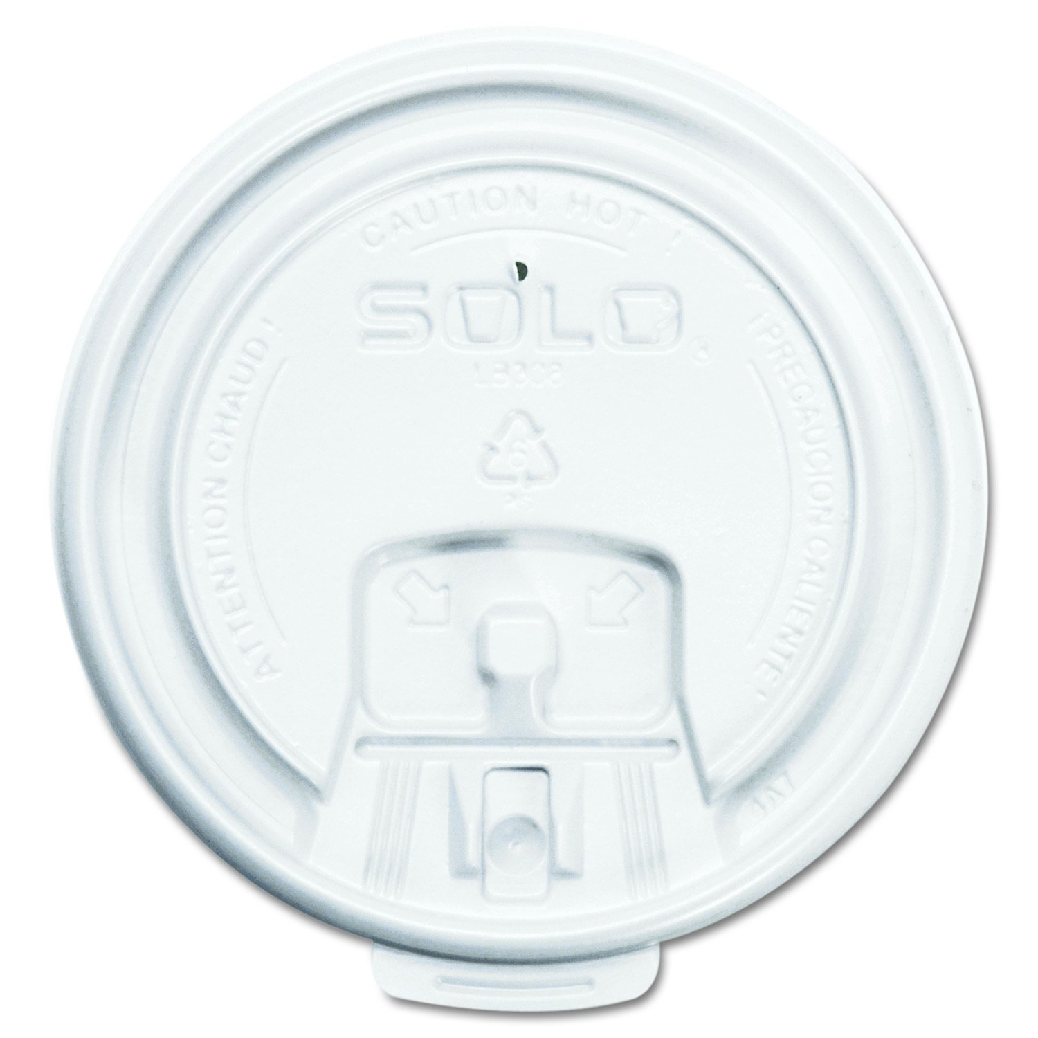 Solo LB3081-00007 White Lock Back Reclosable Plastic Lid - For Solo Paper Hot Cups (Case of 1000)
