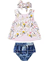 Infant Baby Girl Outfit Wildflowers Cross Vest...